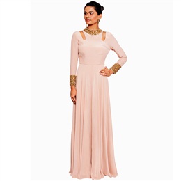 Salt and Spring - Blush Pink Gown with Shoulder Cut Outs & Nalki Embroidery - SU-11001